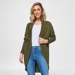 A New Day Olive Green Cocoon Light Cardigan